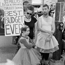 Best Dad Ever by Andrew Rock - News & Events Politics ( sign, canon eos 1n, australia, protest, kodak tri-x 400,  )