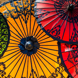 Umbrellas by Mike O'Connor - Artistic Objects Clothing & Accessories ( colour, myanmar, umbrellas, bagan, sun )