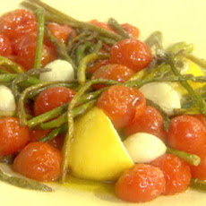Roasted Pencil Asparagus with Cherry Tomatoes, Garlic and Extra-Virgin Olive Oil