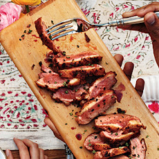 Black-Pepper-Roasted Duck Breasts with Grilled Plums