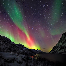 Geo magnetic storm  by Marius Birkeland - Landscapes Starscapes ( mountain, northern lights, aurora borealis, aurora, landscape )