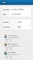 Screenshot of Billsup - split group expenses