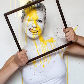 #5 by Martina Poldo - People Body Art/Tattoos ( white, canvas, paint, yellow, portrait )