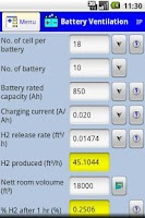 Screenshot of Battery room ventilation calc