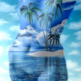 Paradise by Jim Stough - Digital Art People ( palm tree, toroso, nude, woman, sea, surreal, paradise, suddenjim )