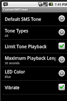 Screenshot of Custom SMS Tones