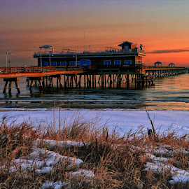 Winters Morning Light by James Gramm - Buildings & Architecture Bridges & Suspended Structures ( water, winter, color, grass, snow, pier, virginia, beach, sunrise, usa, light )