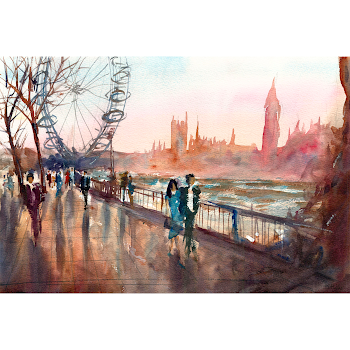 London Southbank painting print from a watercolour