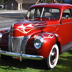 Candy Apple Red and Silver Flames by Ed Hanson - Transportation Automobiles ( car, old, flames, red, ford )