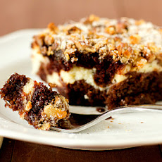 Chocolate Cake with Cream Cheese Filling & Walnut-Sugar Topping