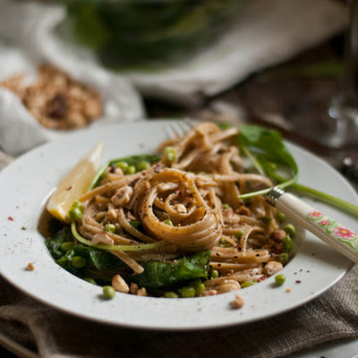 Lemon-Yogurt Linguine with Arugula, Sugar Peas and Roasted Hazelnuts