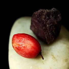 Pagan worship by Prasanta Das - Abstract Macro ( fruits, worhip, pagan, stones )
