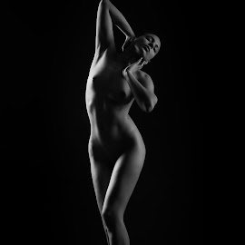 by Todor Lichev - Nudes & Boudoir Artistic Nude ( girl, low key, black and white, artistic nude )