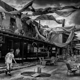 Storm by Andrei Grososiu - City,  Street & Park  Street Scenes ( wind, beer garden, bucuresti, romania, storm )