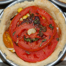 Tomato, Corn, Basil and Bacon Pie