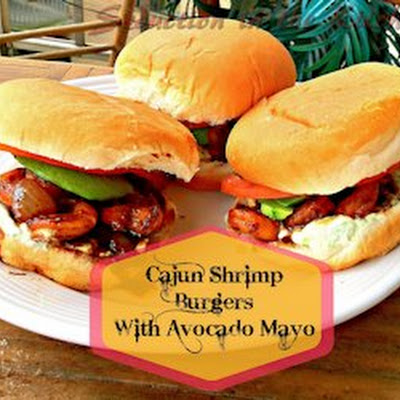 Cajun Shrimp Burgers with Avocado Mayo