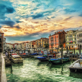 Magic Venice by Andrea Conti - Buildings & Architecture Public & Historical ( venezia, rialto, sunset, vista, buildings, venice, sea, italy,  )