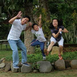 Airborne by Carmina Luna - People Family ( goofing around, jumpshot, family, happiness, fun, Emotion, portrait, human, people )