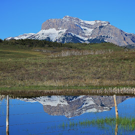 Old Man Reflections by Don Evjen - Landscapes Mountains & Hills ( pines, snow capped, cliffs, mountain, montana, snow, reflections )