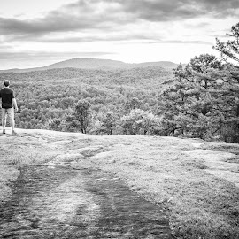 Cedar Mountain Hiker by Tom Moors - Landscapes Mountains & Hills ( mountain, hiker, dupont state forest sunset, black & white, trees, forest, man )