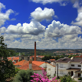 View from home by Gil Reis - City,  Street & Park  Vistas ( clouds, houses, sky, nature, leiria, portugal, flowers, city )
