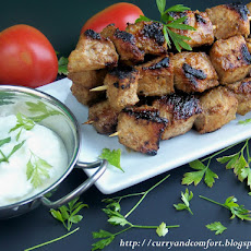 Pork Kebabs with Yogurt Mint Sauce