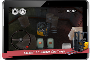 Screenshot of forklift 3D harbor challenge