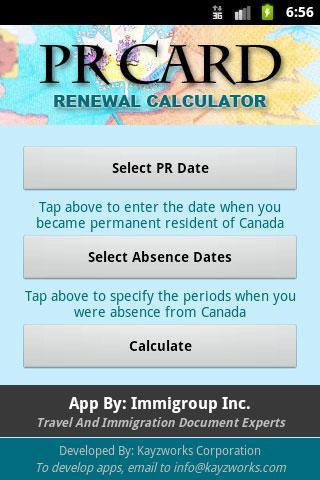 PR Card Renewal Calculator