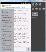 Screenshot of qicr lite IRC client beta
