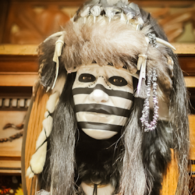 Striped Native American Mask by Kevin Pastores - Artistic Objects Other Objects ( person, authentic, black and white, mask, beads, feathers, native american, staring, headdress, grey, black, suprising, fear )