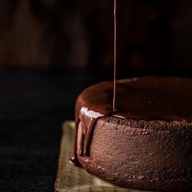 Chocolate Ganache Cake by Mark Richardson - Food & Drink Cooking & Baking ( cake, chocolate, ganache, frosting, bake, brown )