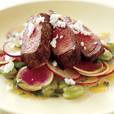 Sliced Filet Mignon with Fava Beans, Radishes, and Mustard Dressing