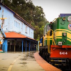 Train waiting at a station by Nalin Agarwal - Transportation Trains ( platform, engine, station, colors, train )