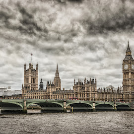 Westminster Bridge and House of Parliament by Dobrinovphotography Dobrinov - City,  Street & Park  Skylines ( illuminated, europe, famous place, international landmark, clock face, architecture, cityscape, photography, thames river, traditional culture, time, england, sky, gothic style, national landmark, spire, color image, no people, westminster bridge, monument, gothic architecture, big ben, travel destinations, tall, uk, city of westminster, clock, clock tower, british culture, british flag, vacations, architecture and buildings, history, urban scene, houses of parliament - london, london - england, dawn, steeple, horizontal, english culture, cloud, architectural styles, parliament building, built structure, large, panoramic, hdr image )