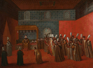 RIJKS: Jean Baptiste Vanmour: Ambassador Cornelis Calkoen at his Audience with Sultan Ahmed III 1730
