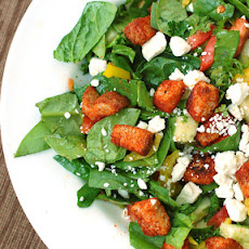 Greek Salad with Paprika Croutons