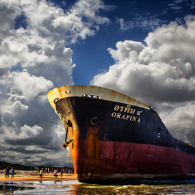 The Ghost Ship 1 by Dmitri Molido - Transportation Boats ( abandoned ship, ship wrecks, cargo ship )