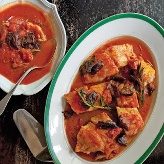 Poached Cod in Tomato Sauce with Prunes