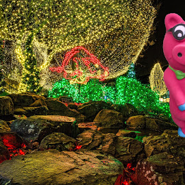 Holiday Piggy by Mary Wright-Buffington - Animals Other ( happy, christmas, pink, rocks, pig,  )