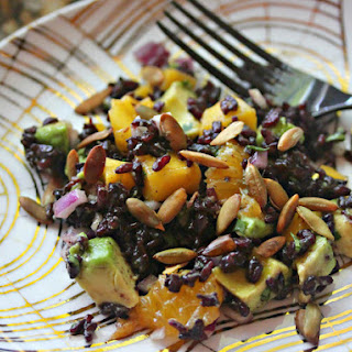 Fruity Black Rice Salad With Cilantro, Avocado, and Pepitas in Chili-Orange Vinaigrette