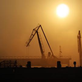 Harbor cranes by Nemes Bogdan - Artistic Objects Industrial Objects ( cranes, harbor, industrial, sunset )