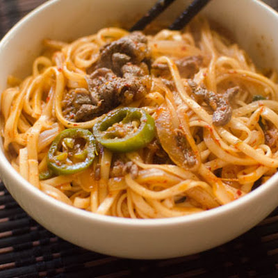 Spicy Beef Stirfry Noodles