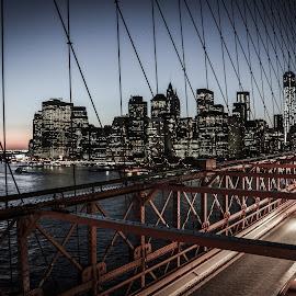 Rush Hour by Joe Adams - City,  Street & Park  Skylines ( brooklyn bridge, skyline, rush hour, sunset, manhattan, bridge, new york, cityscape, motion blur )