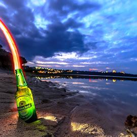 the power within by Corey Menhart - Food & Drink Alcohol & Drinks ( water, sand, beer, heineken, blue, lightart, sunset, ocean, beach, nikon )