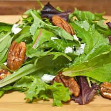 Mesclun with Glazed Pecans, Goat Cheese and Dijon-Mustard Vinaigrette