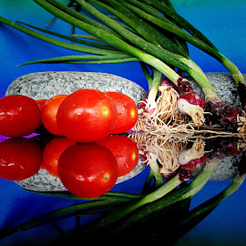 Cherry tomatoes with spring onions by Janette Ho - Food & Drink Fruits & Vegetables ( red, green,  )