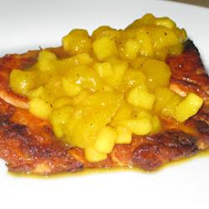 Grilled Salmon with Curried Peach Sauce