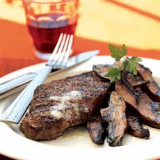 Pepper-Crusted Steaks with Worcestershire-Glazed Portobellos