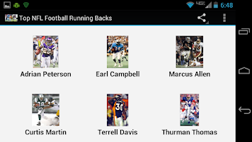 Screenshot of Top NFL Football Running Backs