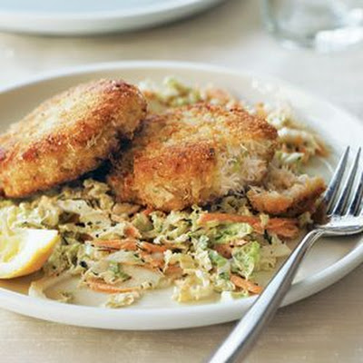 Dungeness Crab Cakes with Cabbage Slaw